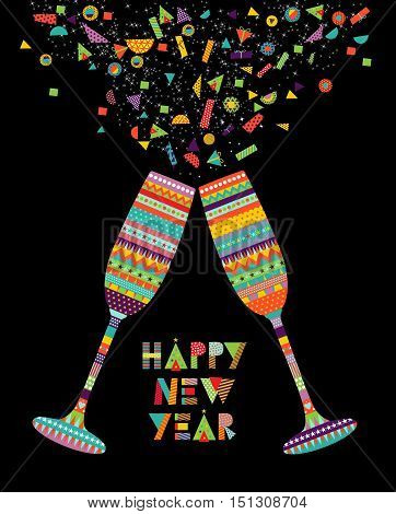 Fun Happy New Year Design Of Drink Glass Party