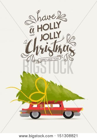 Merry Christmas And New Year Retro Car Design