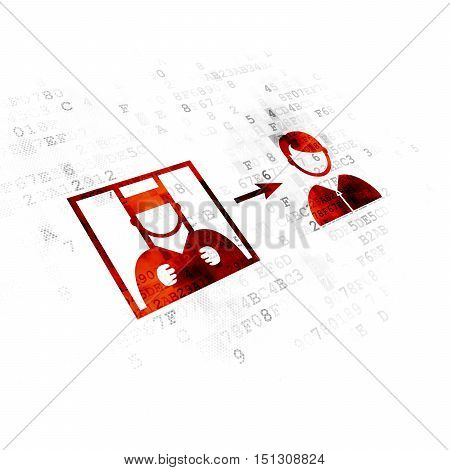Law concept: Pixelated red Criminal Freed icon on Digital background