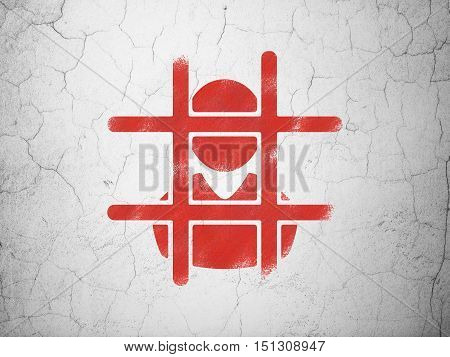 Law concept: Red Criminal on textured concrete wall background
