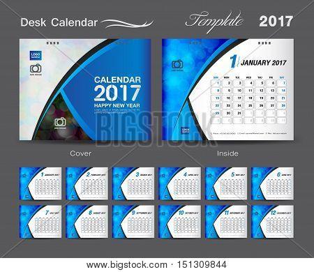 Desk Calendar 2017 template design set, cover Desk Calendar, blue cover , business flyer design