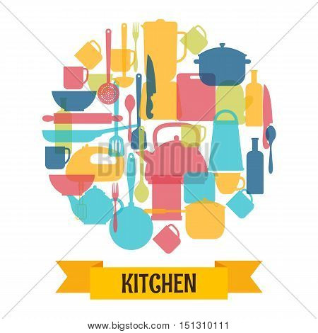 Cooking utensils background. Kitchen and restaurant equipment silhouettes. Vector illustration