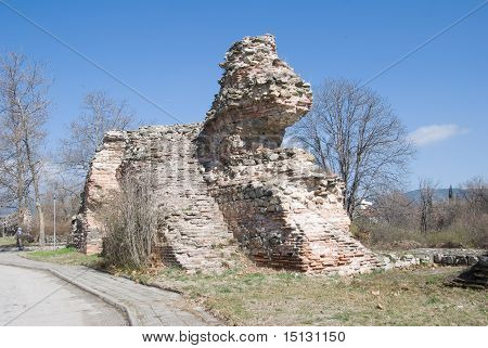 ruins of the fotress wall in Hissar, Bulgaria
