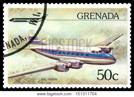 STAVROPOL RUSSIA - October 10 2016: a stamp printed in Grenada shows plane De Havilland D.H.114 Heron 1950 circa 1976.