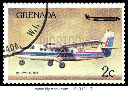 STAVROPOL RUSSIA - October 10 2016: a stamp printed in Grenada shows plane De Havilland Canada DHC-6 Twin Otter1970 circa 1976.