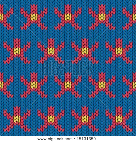 Knitting Ornate Seamless Pattern With Geometric Figures Over Blue