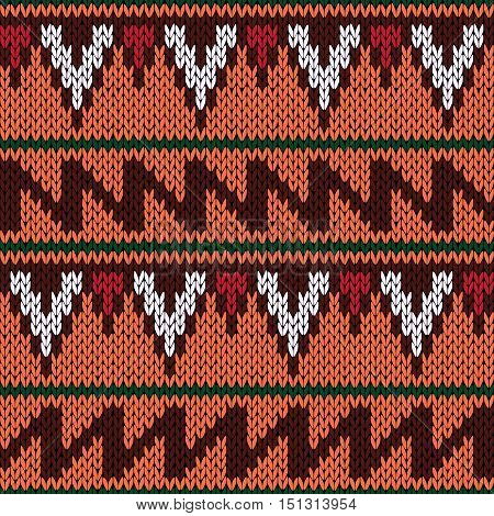Knitting Ornate Seamless Ethnic Pattern With Geometric Color Figures