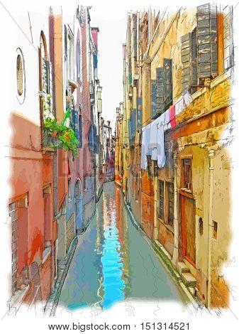 Venice - Calle Frutarol. Vector color illustration