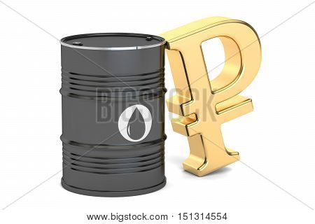 oil barrel and Russian ruble symbol 3D rendering isolated on white background