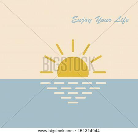 sun sea nature enjoying vector symbol illustration