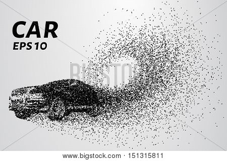 Car from the particles. Of the cars fly off the dots and small circles.