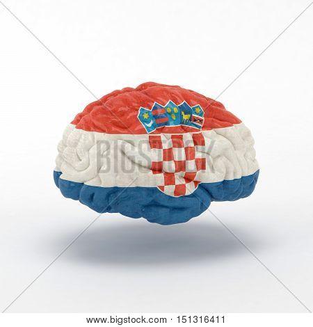 Croatia. Flag on Human brain. 3D illustration.