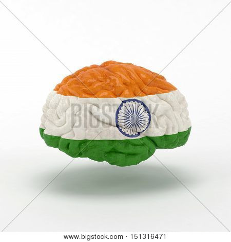 India. Flag on Human brain. 3D illustration.
