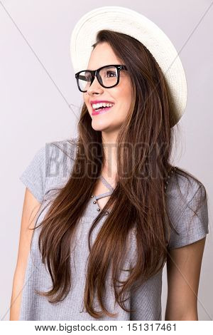 Portrait of happy attractive young woman