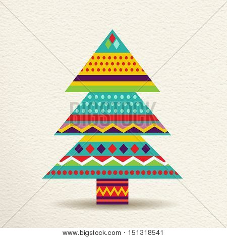 Merry Christmas pine tree decoration design in fun happy colors with geometric shapes and stripes concept holiday illustration. EPS10 vector.