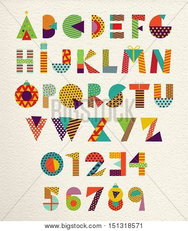 Modern set of happy Christmas font fun letters and numbers in festive colors with holiday gift decoration. EPS10 vector