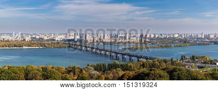 Panoramic view of Dnepr river and Kiev city Ukaine