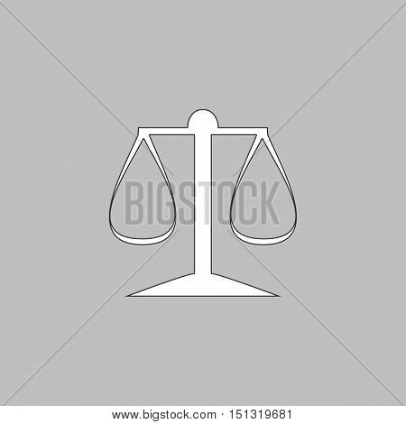 justice scale Simple line vector button. Thin line illustration icon. White outline symbol on grey background