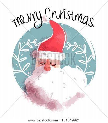 Cute hand drawn Christmas illustration of santa claus face on ornamental decoration background. EPS10 vector.