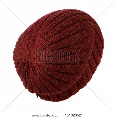 Knitted Hat Isolated On White Background .hat Red