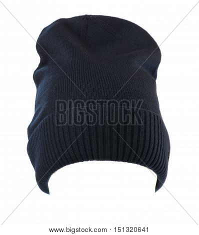 Knitted Hat Isolated On White Background .sports Hat  Blue