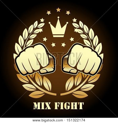 Mix fight competition emblem with two fists