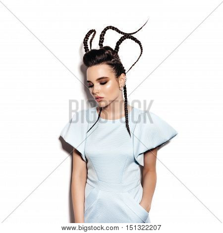 Woman With Elegant Hairstyle. Perfect Makeup