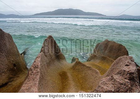Low Tide At The Wild East Coast Of La Digue, Seychelles