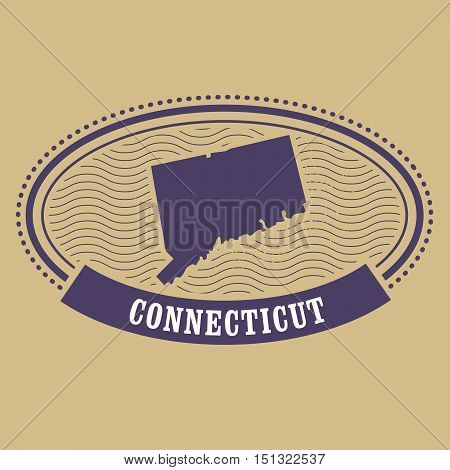 Connecticut map silhouette - oval stamp of state