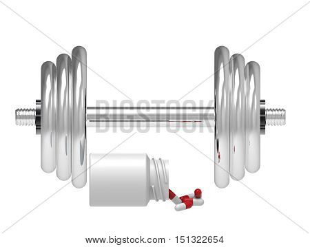 Dumbbell with vial of pills on white background 3D rendering