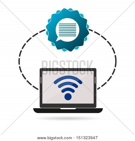 Social media design, media icon, laptop and bubble speach