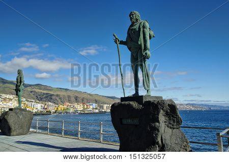 Guanche Indian Statue Located At Plaza De La Patrona De Canarias At Candelaria, Tenerife, Canarian I