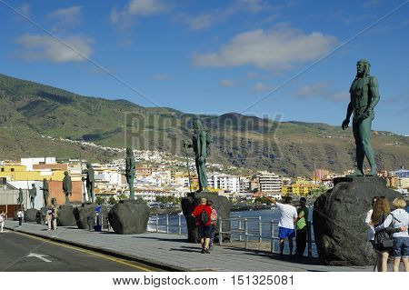 CANDELARIA, SPAIN, TENERIFE - JANUARY 04: Guanches indian statues located at Plaza de la Patrona de Canarias at Candelaria, on January 4, 2016, Canary Islands, Spain
