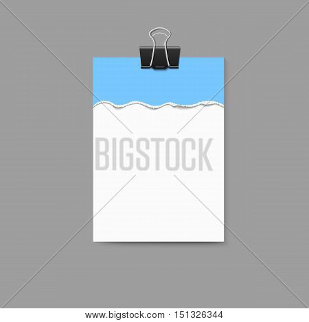 Empty vector vertical white paper poster mockup and blue piece of paper with ripped edges and big paper clip.