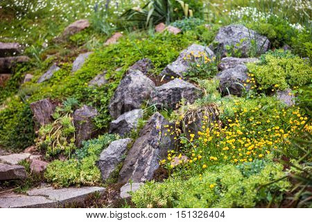 Pile of stones in the green blooming garden.