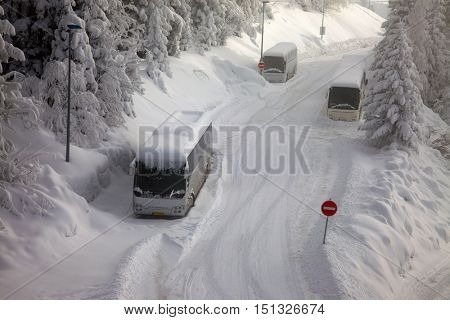Buses parked in snow