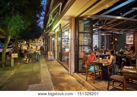 HONG KONG - OCTOBER 25, 2015: Kinsale restaurant at night. Kinsale is a restaurant located in Hong Kong's Kennedy Town.