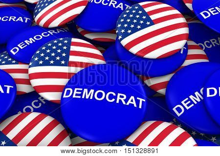 Us Elections - Democrat Party Campaign Pins And Us Flag Buttons 3D Illustration