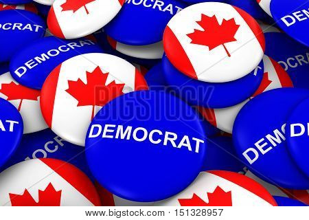 Democrat Party Campaign Pins And Canadian Flag Buttons 3D Illustration