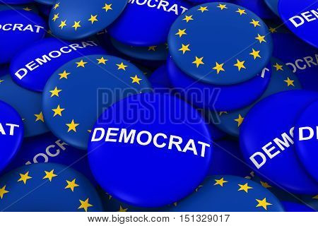 Democrat Party Campaign Pins And European Union Flag Buttons 3D Illustration