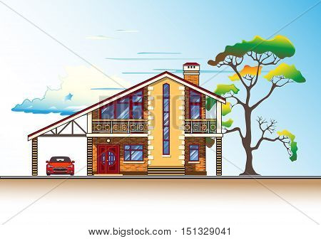 House or cottage, tree, a carport and a car. Color graphics vector