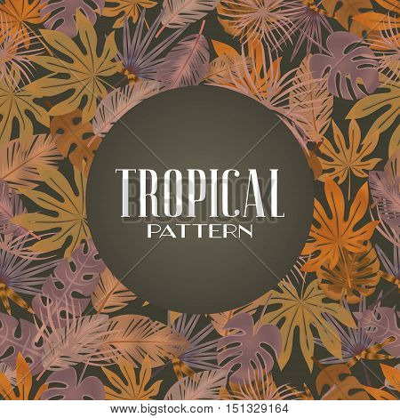 Bright hawaiian design with tropical plants and hibiscus flowers.Vector