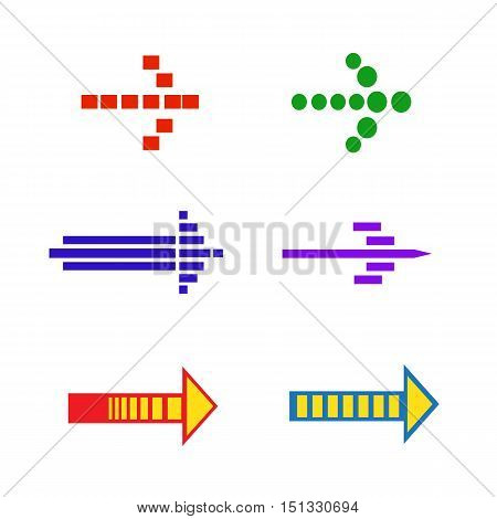 Set icons with signs arrows. Vector illustration