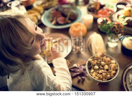 Little Kid Children Eating Corn Thanksgiving Celebration Concept