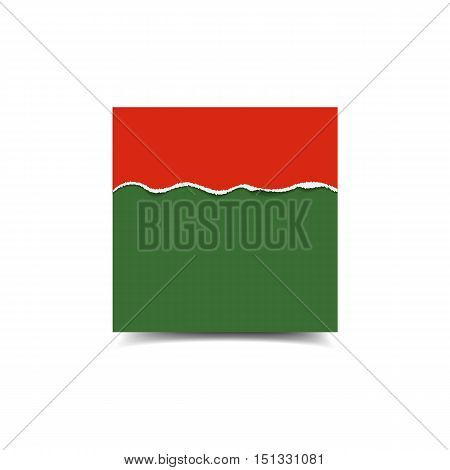 Empty vector poster mockup and piece of paper with ripped edges of Merry Christmas and Happy New Year colors.