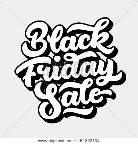 Black Friday Sale handmade lettering, 3d oblique calligraphy with block blended white shade and light background for logo, banners, labels, badges, posters, web, presentation. Vector illustration.