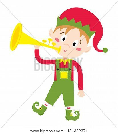 Santa Claus kid cartoon elf helper vector illustration. Santa Claus elf helper children. Santa helper traditional costume. Santa family elf isolated on background. Santa Claus elf, christmas kid
