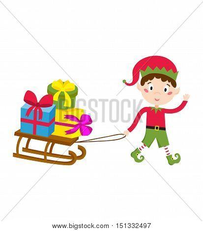 Santa Claus kid cartoon elf helper vector illustration. Santa Claus elf helper children. Santa helper traditional costume. Santa family elf isolated on background. Santa Claus elf, christmas kid
