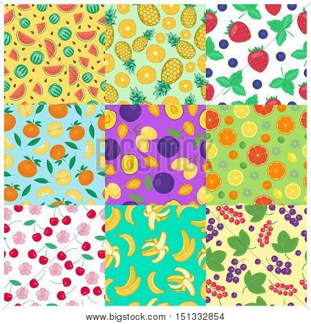 Seamless backgrounds with fruits vector. Food wallpaper sweet design nature fruit seamless background. healthy strawberry fruit seamless background vegetarian vitamin juicy drawing.