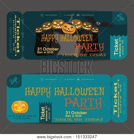 Ticket to a Halloween party on the dark turquoise background vector illustration.